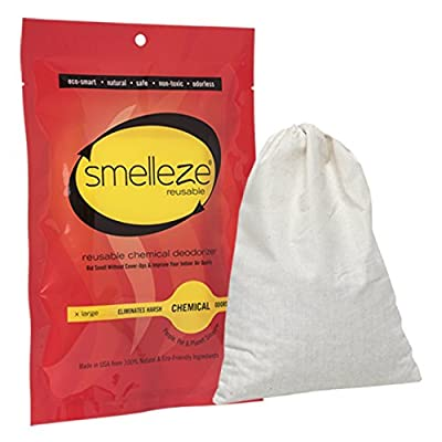 SMELLEZE Reusable Chemical Smell Eliminator X Large Pouch: All-Natural Deodorizer Cleans Air in 150 Sq. Ft. Area