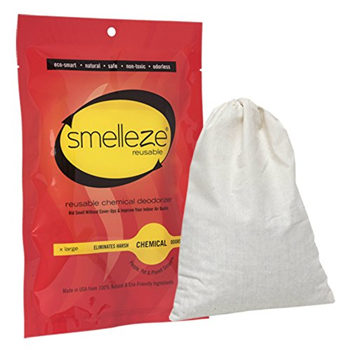 - SMELLEZE Reusable Chemical Smell Eliminator X Large Pouch: All-Natural Deodorizer Cleans Air in 150 Sq. Ft. Area