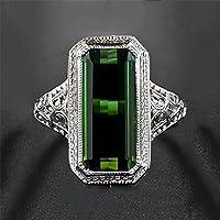 suwanpoomshop Women Men 925 Silver Ring Huge 8.2ct Emerald Engagement Wedding Party Size 6-10 (10)