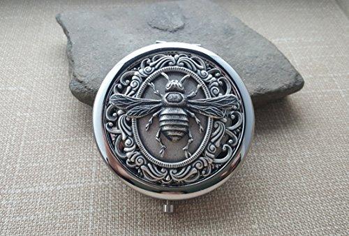 Handmade Victorian Silver Bee Steampunk Compact Mirror