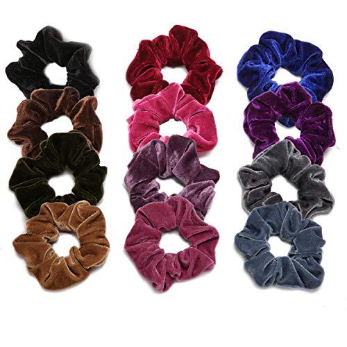 Hair Scrunchies Velvet Elastic Scrunchy Hair Ties for Women and Girls (Red Rose Lemon Chiffon)