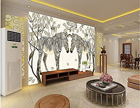 LHDLily 3D African Prairie Zebra Mural Living Room Sofa ...