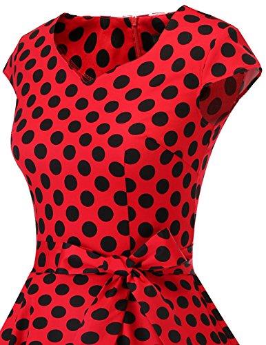 Con Black Mangas Retro Corto Cortas 1950s reg;Mujer Dot Vintage Vestido Dresstells Red x0q1YvFw