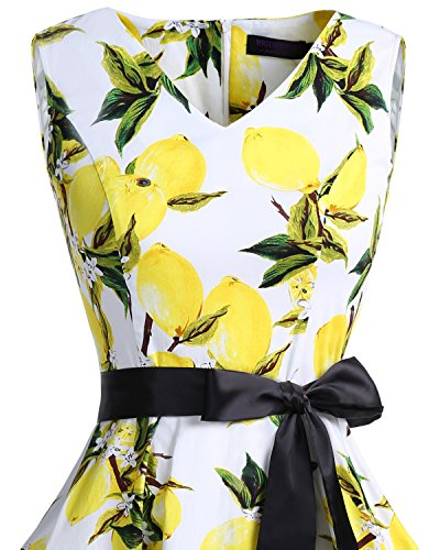 Donna White Bridesmay Vintage neck Anni Vestito Lemon Retro '50 Cocktail Audrey Abiti V 53ALRqj4