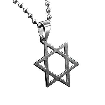Estrella de collar colgante Point collar colgante estrella de David unisex de acero inoxidable collar de la estrella 7 con la cadena del grano