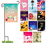 Outdoor Seasonal Garden Flags with Stand - 12 Piece Decorative House and Yard Flag Set, Celebratory Flag Decor and Pole - Thanksgiving, Easter, 4th of July, New Years, Mother's Day and More