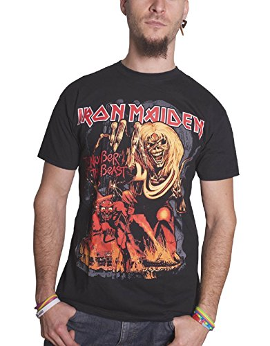 Iron Maiden T Shirt Number of The Beast Graphic Band Logo Official Mens Black Size XL