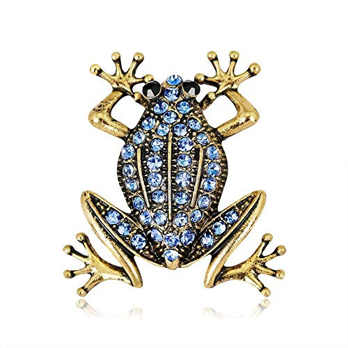Junson Pearl Corsage Brooch Europe and America Retro Animal Brooch Alloy Diamond Frog Brooch pin Jewelry Suit with Brooch 2 Piece Set ()