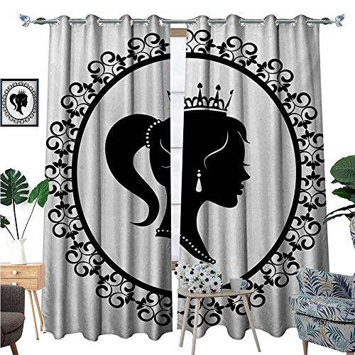 Queen Window Curtain Fabric Profile Silhouette of Princess in Frame with Victorian Details Young Noble Woman Drapes for Living Room W108 x L84 Black and (Raven Fabric Black Frame)