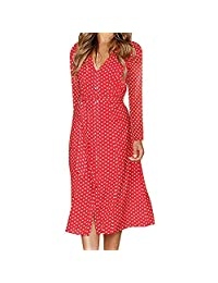 Womens Dot Printing Button Casual Long Sleeve Party Bodycon Belted Dress KIKOY