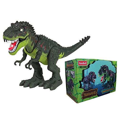 FanBell Kids Toy Walking Dinosaur T-Rex Toy Figure With Lights & Sounds, Real Movement