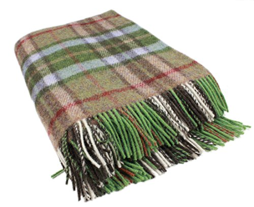 "Plaid Throw Blanket Green and Brown Wool 75""x54"" Ireland Made (Plaid Wool Blankets)"