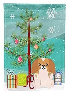 Caroline tesoros del bb4228chf feliz árbol de Navidad Pekingese rojo blanco lona casa bandera, grande, Multicolor