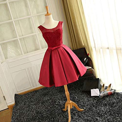 Dama Para color Vestido Honor Funytine Fiesta L Delgada Una Línea Size Noche Mujer Rojo Pink Red De FzzUqw0