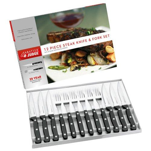 Judge IV42 Steak Fork and Knife Set, Black, 12-Piece Horwood Homewares Cutlery & Knives Steak Knives Steak knife