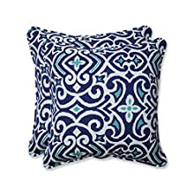 Pillow Perfect Outdoor   Indoor New Damask Marine 18.5-inch Throw Pillow (Set of of, 2 Piece