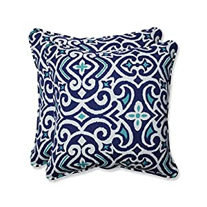 Pillow Perfect Outdoor | Indoor New Damask Marine 18.5-inch Throw Pillow (Set of of, 2 Piece