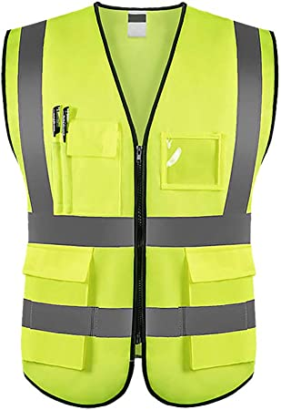 Fluorescent High Vis Vest Waistcoat Work Safety Visibility Fabric Fasten Unisex