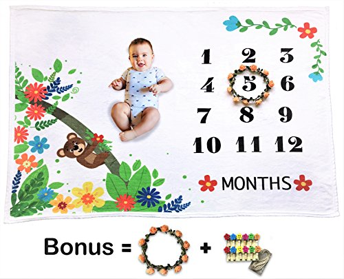 """Baby Monthly Milestone Blanket   Baby Shower Gift   Photo Prop Shoots Backdrop for Boys and Girls – Large 60''x 40"""" Super Soft Plush Throw Blanket - Perfect for Newborns and Infants (Baby Throw Personalized)"""
