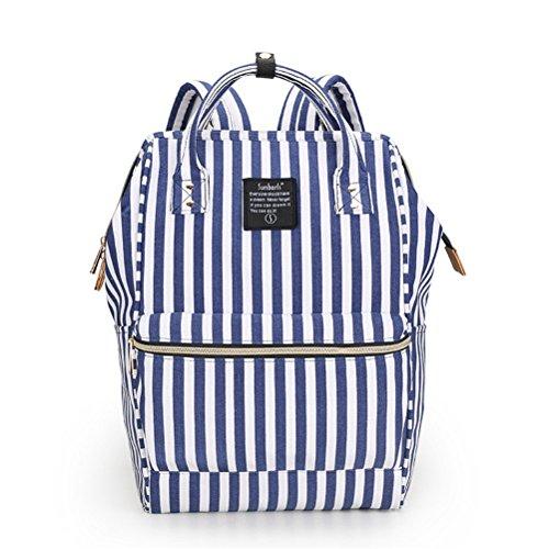 Marke winnerbag Klassiker Damen Schultasche Reisen Marke Camouflage Liebhaber Schule Rucksack Oxford Schulter Rucksack Tasche für jugendliche Mädchen blauen Streifen Blue stripe