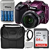 Nikon COOLPIX B500 Digital Camera (Plum) Starter Bundle Includes, Camera Case, 64GB Ultra Memory Card, 4AA Rechargeable Batteries and More