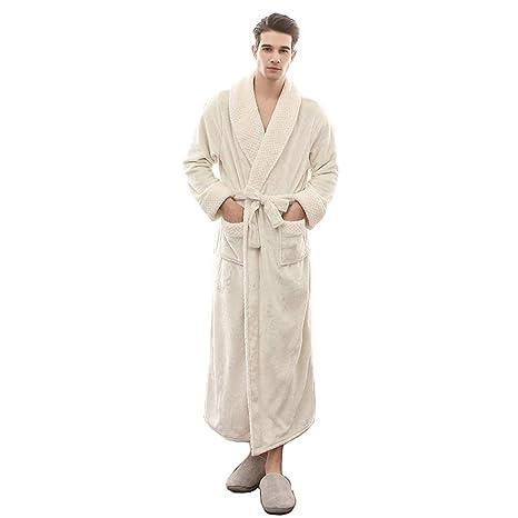 Bata De Invierno Hombre Albornoz Mullido Gofre Vestido De Noche Largo Fleece (Color : Blanco