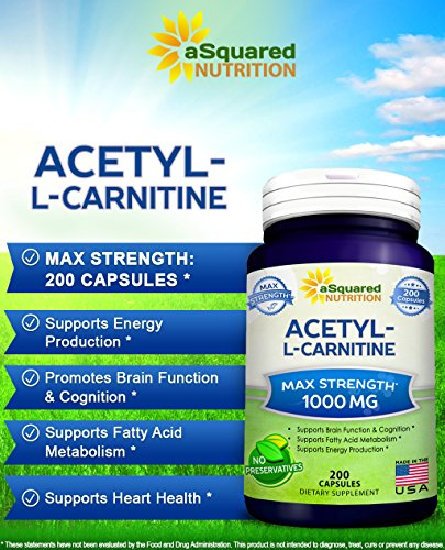 Pure Acetyl L-Carnitine 1000mg Max Strength - 200 Capsules - High Potency Acetyl L Carnitine HCL (ALCAR) Supplement Pills to Support Energy, Brain Function & Fatty Acid Metabolism by aSquared Nutrition (Image #1)