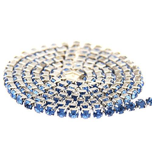 Nizi Jewelry Non Hotfix Glass Cup Chain Beads Light Sapphire (Bead Ss Beaded Chain)