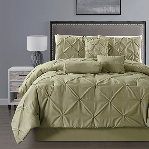 7 - Piece Solid SAGE GREEN Pinch Pleat DUVET COVER Set KING Size Bedding with Accent Pillows