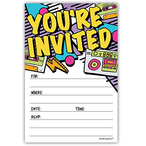 Retro 80s 90s Party Invitations (20 Count) with Envelopes - Hip Hop Party ()