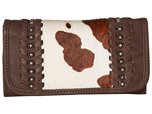 - American West Women's Cow Town Chocolate Pony Hair Tri-Fold Wallet Chocolate One Size