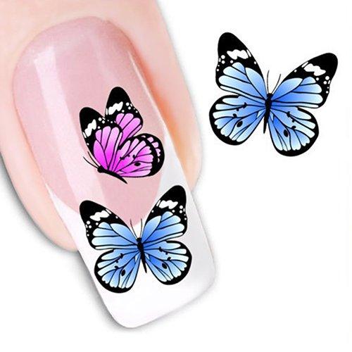 lightclub 2Sheets/72Pcs Different 3D Butterfly Design Nail Art