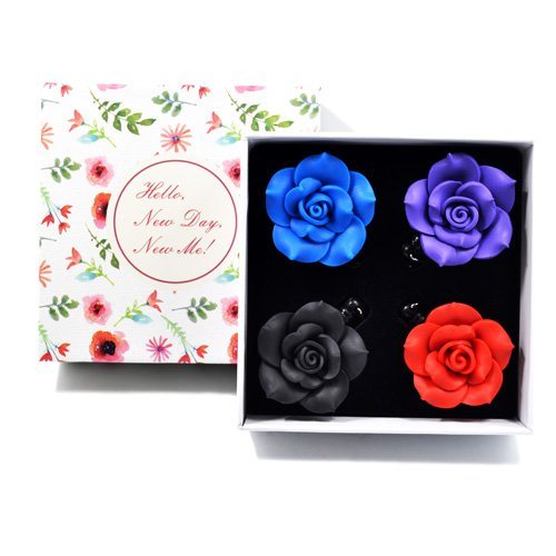 Qinsuee Retractable ID Badge Holder with Soft Ceramic Flower in Gift Box, Swivel Alligator Clip, 24 inch Retractable Cord, 4 Pack (DarkColor) Soft Badge
