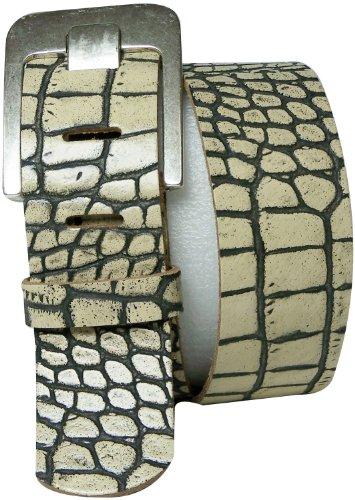 FRONHOFER Wide Belt 1.9' wide leather belt croc belt, crocodile belt 5 cm wide, Size:waist size 33.5 IN M EU 85 cm, Color:Cream