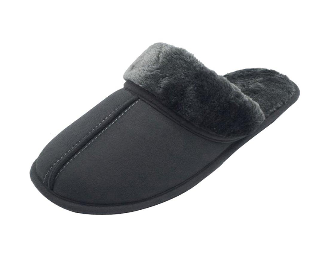 Luxehome Men's Slip On Indoor/Outdoor Fluff Footwear/Slipper (8-9 US, Light Gray)
