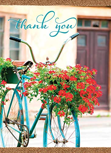 Thank You Cards with KJV Scripture - Vintage Bikes & Blooms - Box Set of 12