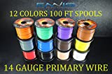 14 GAUGE WIRE ENNIS ELECTRONICS 12 COLORS 100 FT SPOOLS PRIMARY REMOTE HOOK UP AWG COPPER CLAD