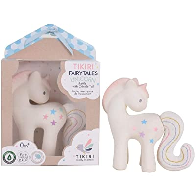 Tikiri Fairytales Cotton Candy Unicorn Natural Rubber Rattle with Crinkle Tail (White): Toys & Games
