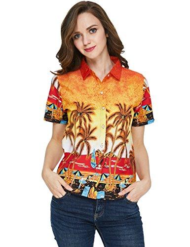 SSLR Camisa Mujer Hawaiana Manga Corta Blusa Verano Casual Aloha Tropical Beach (X-Large, Naranja): Amazon.es: Ropa y accesorios