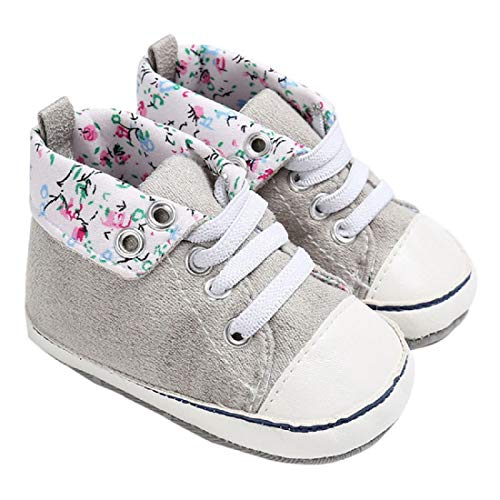 Infant Canvas Shoes FAPIZI Boy Girl Newborn Crib Soft Sole Lace-up Shoe Toddler Sneakers Gray