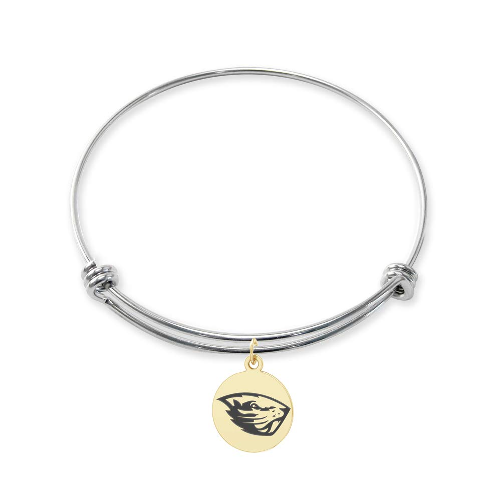 College Jewelry Oregon State Beavers Stainless Steel Adjustable Bangle Bracelet with Yellow Gold Plated Round Charm