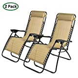 PARTYSAVING 2-Piece Infinity Zero Gravity Outdoor Lounge Patio Folding Reclining Chair, Tan Review