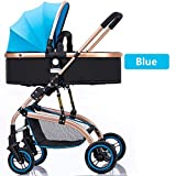 High-Landscape Bidirectional Walking Baby Strollers 3 in 1 Pram Travel Buggies Foldable Height-Adjustable Buggy Child Pushchairs (Color : Blue, Size : 34.6425.7841.53inchs)