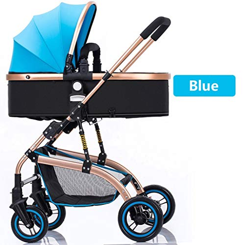 Strollers Baby High-Landscape Bidirectional Walking Baby Strollers 3 in 1 Pram Travel Buggies Foldable Height-Adjustable Buggy Child Pushchairs (Color : Blue, Size : 34.6425.7841.53inchs)