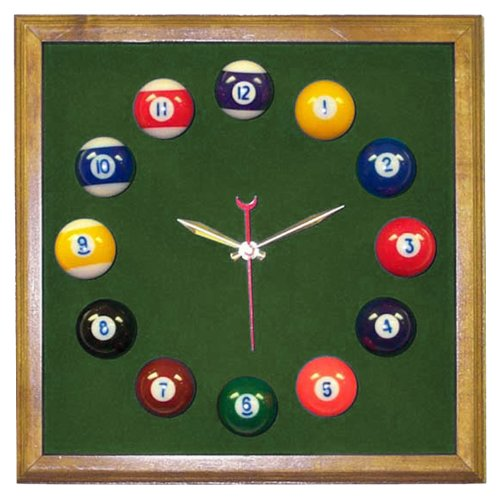 Pool Room Square Oak Billiard Clock