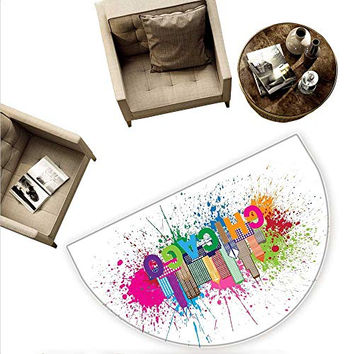Chicago Skyline Semicircular CushionSplash of Colorful Paint Background with Text of Chicago and Cityscape Entry Door Mat H 59