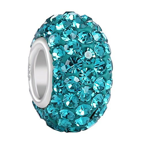 Italian Mob Costume (925 Sterling Silver Jan-Dec Birthstone Charms Swarovski Elements Crystal Sale Bead (Turquoise December)