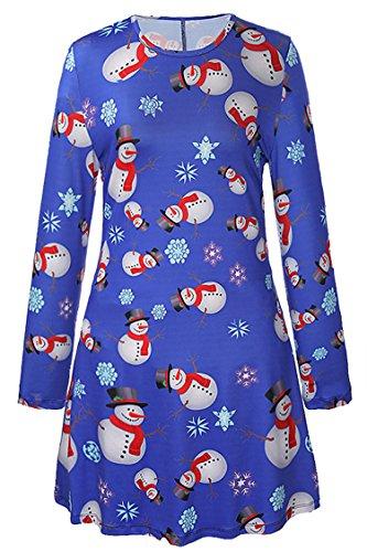 Herose Womens Crewneck Loose Fitted Tunic Tee Shirt Dress Blouse Tops S Snowman Blue