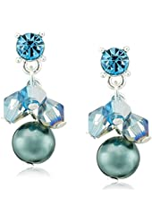 "Napier ""Color Play"" Silver-Tone Blue Multi-Cluster Drop Earrings"