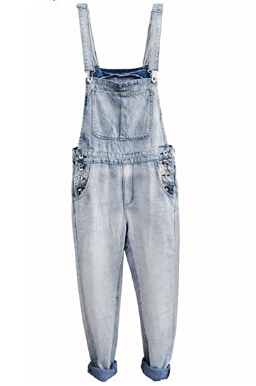 84c36be957b6 Denim Men's Plus Large Size White Blue Thin Overalls at Amazon Men's ...